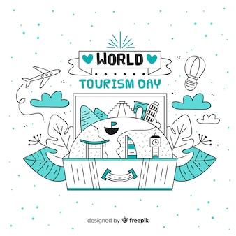 Hand getekend toerisme dag achtergrond