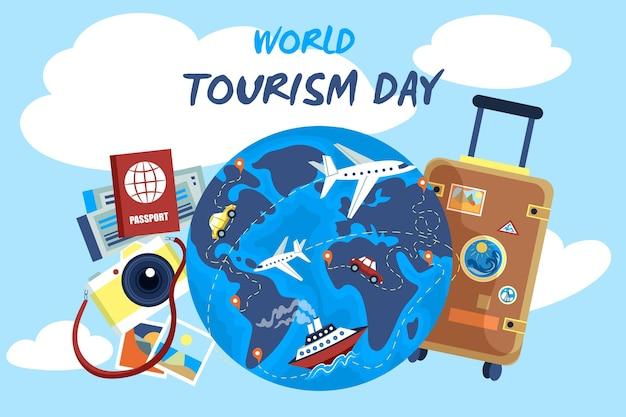 Hand getekend toerisme dag concept