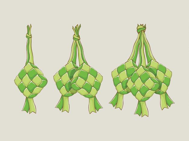 Hand getekend traditionele ketupat illustratie