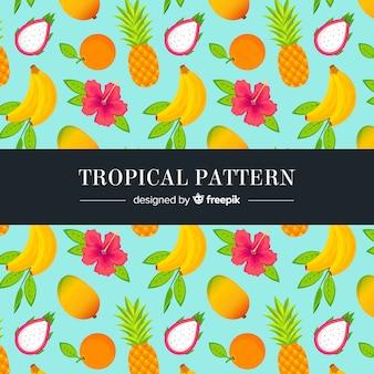 Hand getekend tropisch fruit patroon