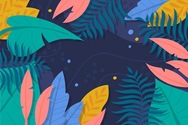 Hand getekend tropische bladeren achtergrond