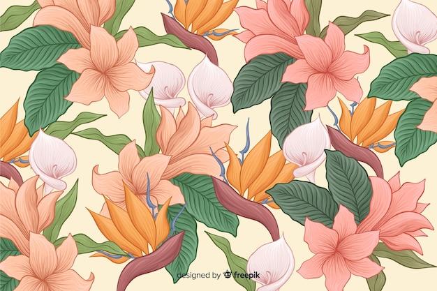 Hand getekend tropische bloemen achtergrond