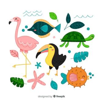 Hand getekend tropische dieren collectie