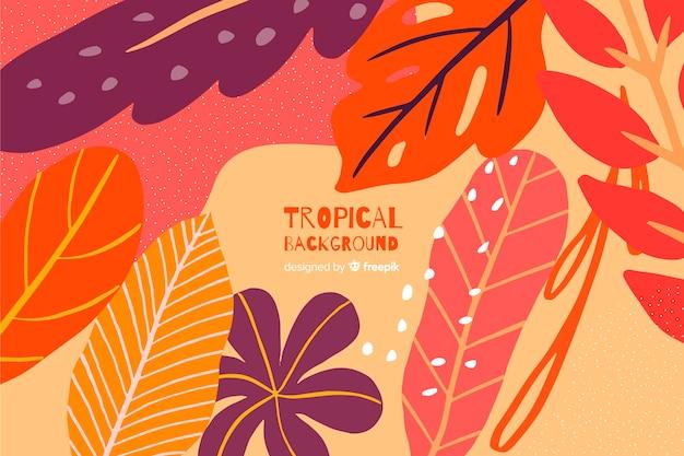 Hand getekend tropische kleurrijke bladeren achtergrond