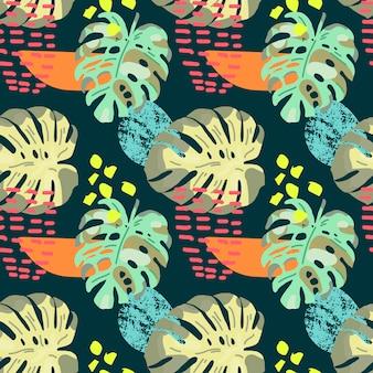 Hand getekend tropische naadloze patroon.