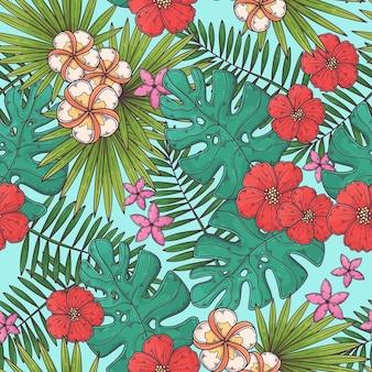 Hand getekend tropische naadloze patroon