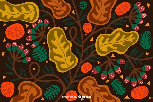 Hand getekend tropische planten achtergrond