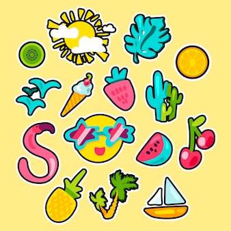 Hand getekend tropische zomer stickers