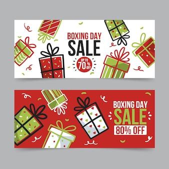 Hand getekend tweede kerstdag verkoop banners sjabloon