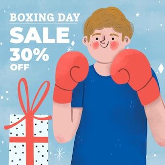 Hand getekend tweede kerstdag verkoop illustratie