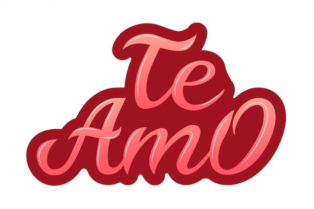 Hand getekend typografie belettering in het spaans - te amo.
