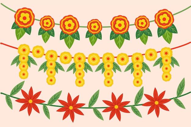 Hand getekend ugadi garland illustratie