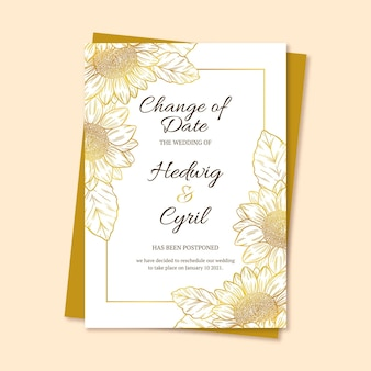 Hand getekend uitgesteld bruiloft kaartsjabloon