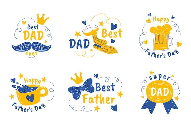 Hand getekend vaderdag badges collectie