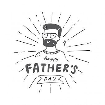 Hand getekend vaders dag vintage embleem