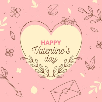 Hand getekend valentijnsdag achtergrond concept