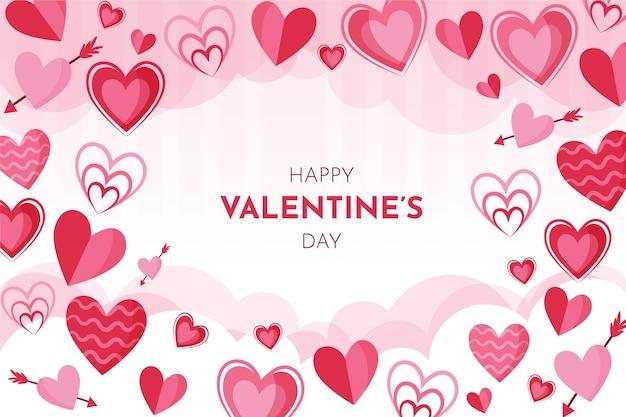 Hand getekend valentijnsdag achtergrond met hartjes