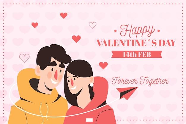 Hand getekend valentijnsdag achtergrond met paar