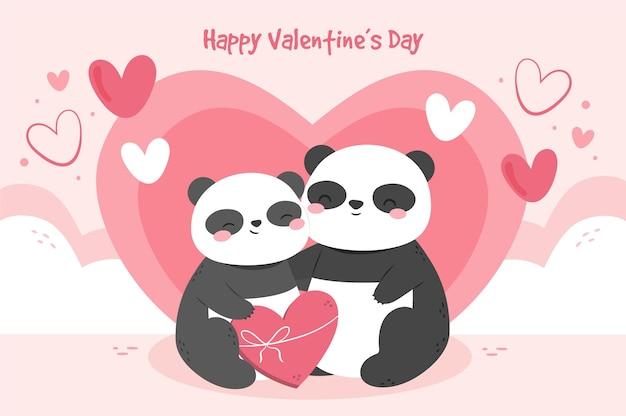 Hand getekend valentijnsdag achtergrond met pandapaar