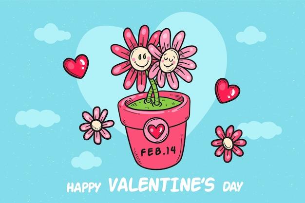 Hand getekend valentijnsdag achtergrond