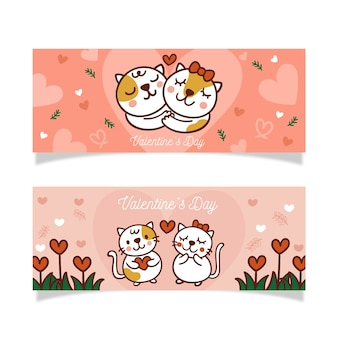Hand getekend valentijnsdag banner en mooie kittens