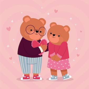 Hand getekend valentijnsdag dierlijk paar