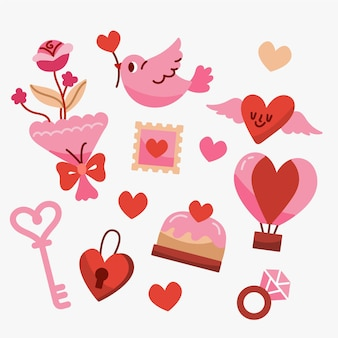 Hand getekend valentijnsdag element collectie