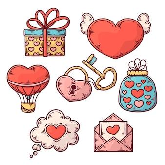Hand getekend valentijnsdag elementen collectie