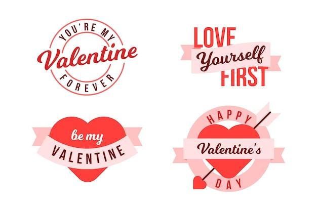 Hand getekend valentijnsdag etiketten pack