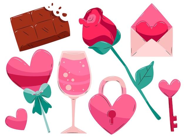 Hand getekend valentijnsdag geïllustreerde element collectie