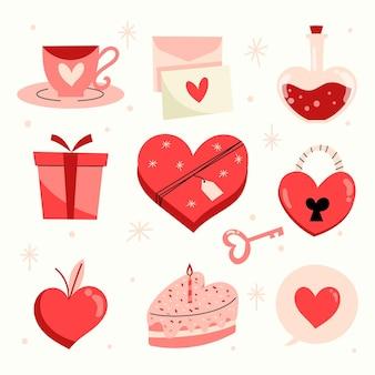 Hand getekend valentijnsdag geïllustreerde elementenpakket