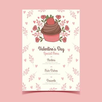 Hand getekend valentijnsdag menu met bloemen cupcake