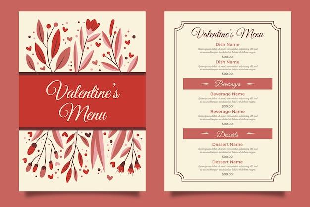 Hand getekend valentijnsdag menu