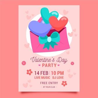Hand getekend valentijnsdag partij flyer Gratis Vector