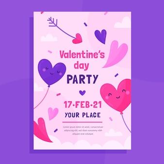 Hand getekend valentijnsdag partij poster sjabloon