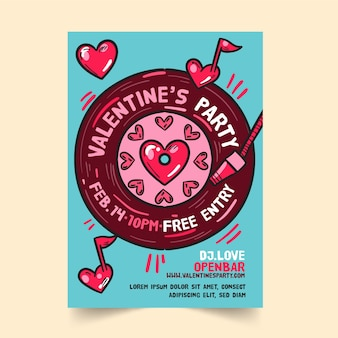 Hand getekend valentijnsdag partij sjabloon folder