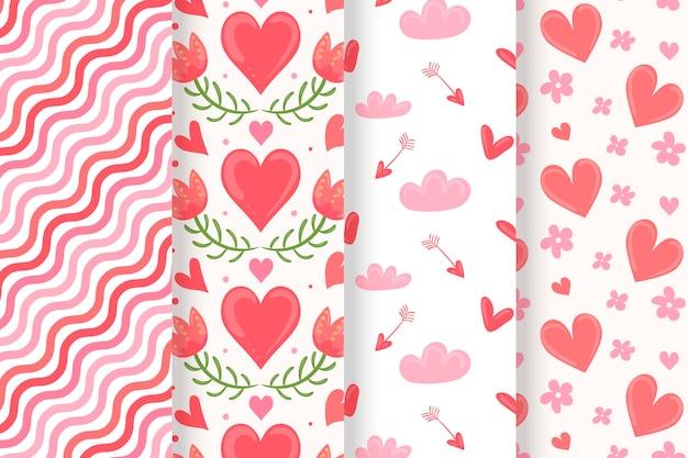Hand getekend valentijnsdag patronen collectie