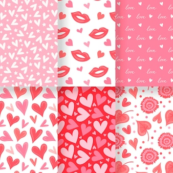 Hand getekend valentijnsdag patronen pack