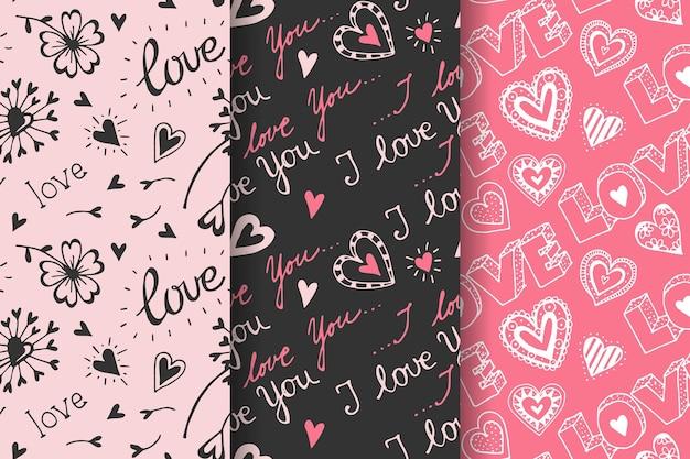 Hand getekend valentijnsdag patroon collectie