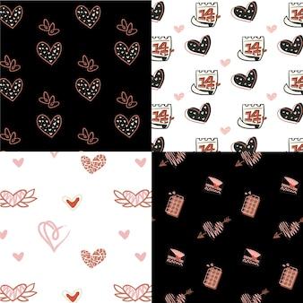 Hand getekend valentijnsdag patroon pack