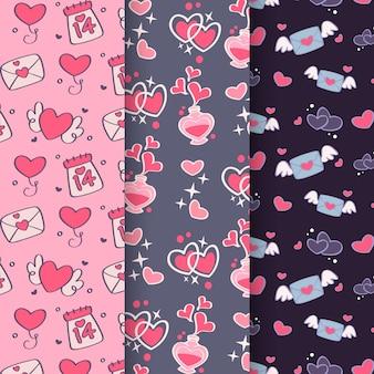 Hand getekend valentijnsdag schattig patroon collectie