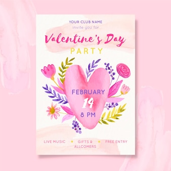 Hand getekend valentijnsdag sjabloon folder