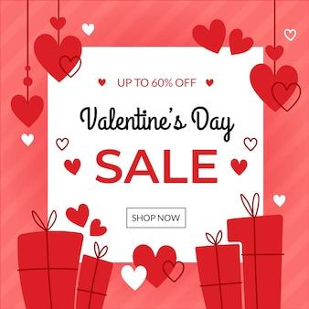 Hand getekend valentijnsdag verkoop concept