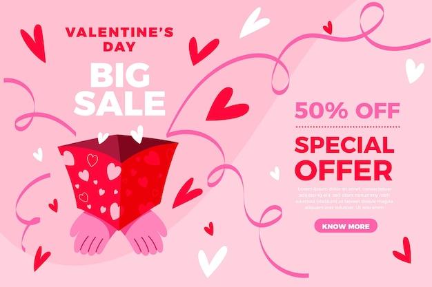 Hand getekend valentijnsdag verkoop speciale aanbieding
