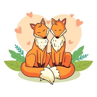 Hand getekend valentijnsdag vossen paar Gratis Vector