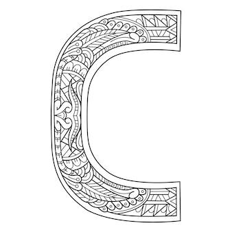 Hand getekend van aphabet letter c in zentanglestijl