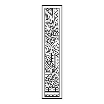 Hand getekend van aphabet letter i in zentanglestijl