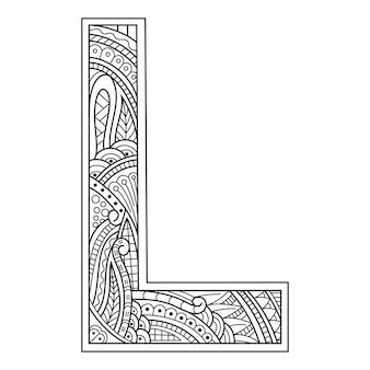 Hand getekend van aphabet letter l in zentanglestijl