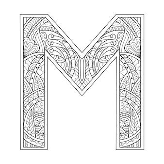 Hand getekend van aphabet letter m in zentanglestijl