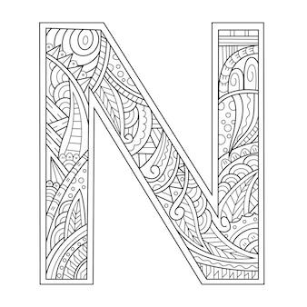 Hand getekend van aphabet letter n in zentanglestijl